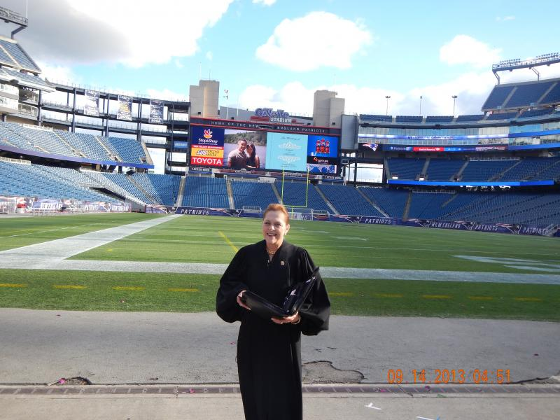 Officiating my first Wedding at Gillette Stadium, Home of the New England Patrio