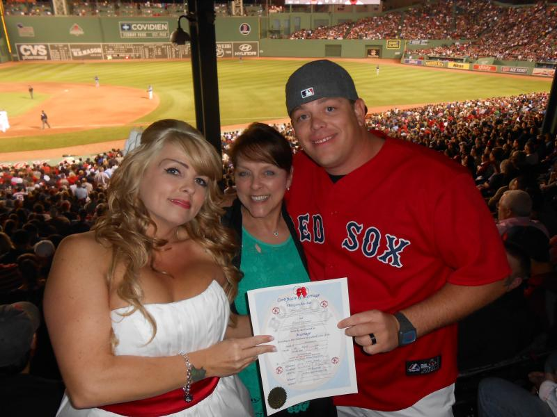 Me, with Bride, Jessica, and Groom, Patrick, Fenway Park, Boston